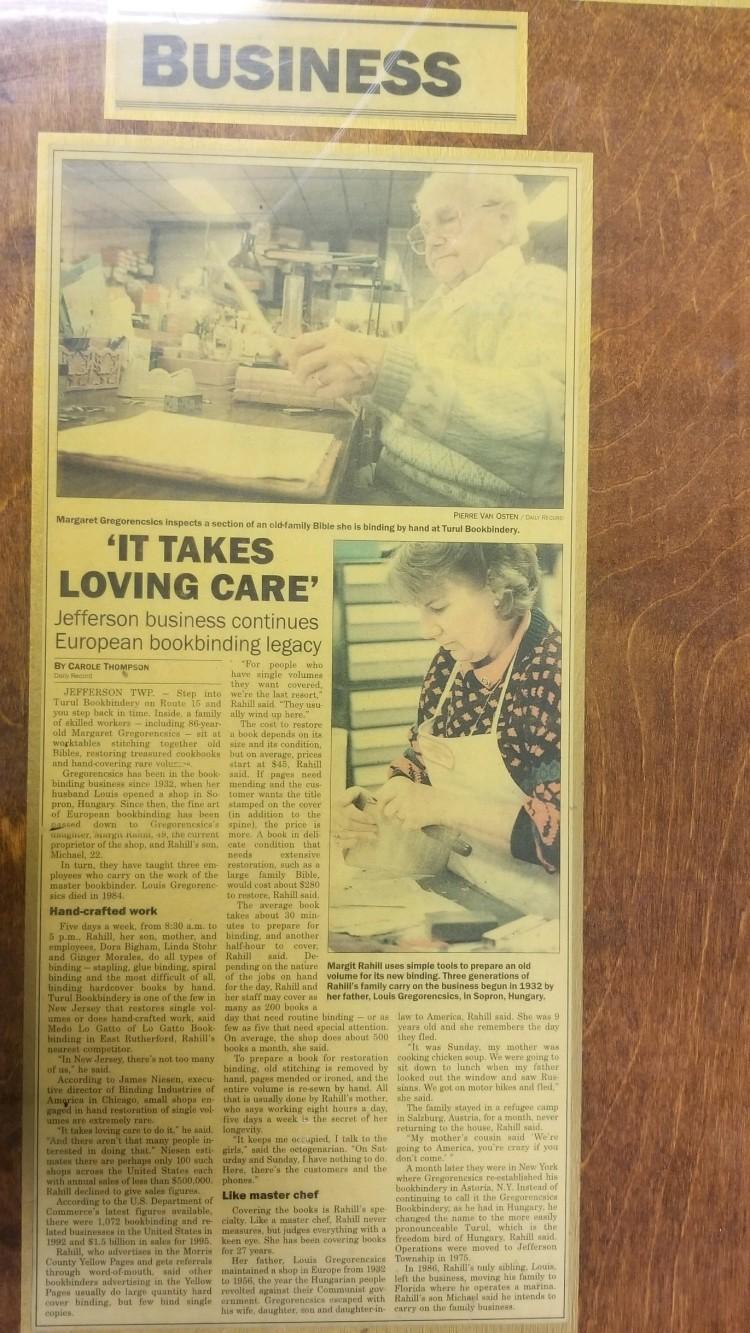 Grandma and Mom Bookbinding Article Daily record